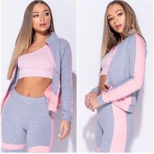 Gray + Pink Color Block Lounge Set / Track suit